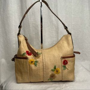 Vintage Fossil Woven and Embroidered Purse